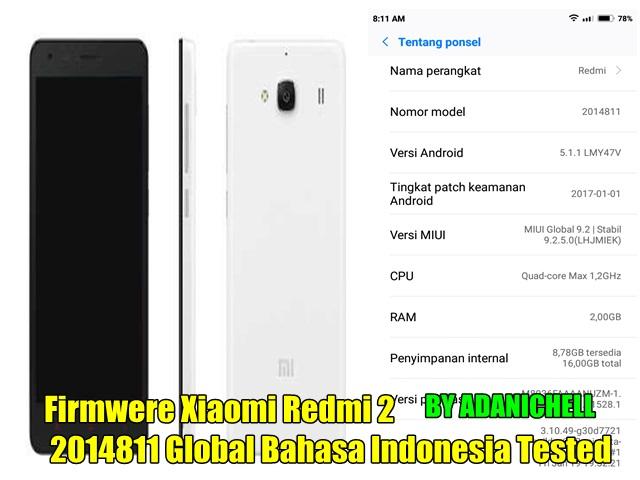 Firmwere Xiaomi Redmi 2 2014811 Global Bahasa Indonesia Tested