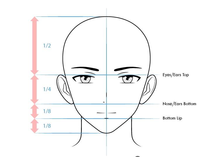 Proporsi wajah karakter anime pria