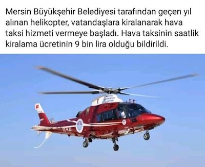 mersin belediye başkanı helikopter