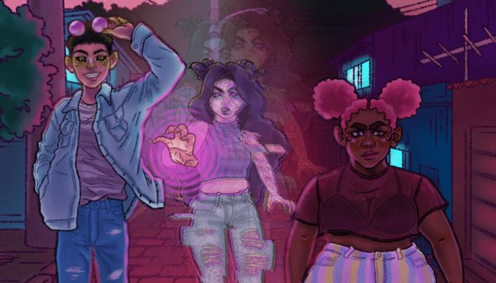 Imagem: ilustração de três adolescentes atravessando uma rua, o primeiro mais à esquerda é um jovem de cabelos curtos, jaqueta azul clara, jeans, com um par de óculos violeta, os olhos pretos com pupilas verdes, dentes afiados e orelhas pontudas, além de pequenas escamas nas bochechas, a do meio é uma moça que está erguendo as mãos e ondulações rosa surgem no ar, fazendo sua figura tremeluzir, e mais a direita está uma moça negra e baixinha, com cabelos pintados de rosa e uma blusa roxa semi-transparente.