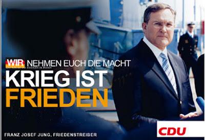 Deutschland Kriegsbeteidigung lustiges Wahlplakat CDU Franz Josef Jung