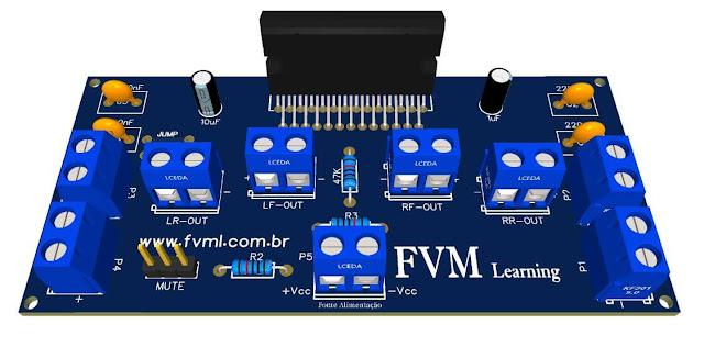 Amplificador de potência 4 x 50W, 14.4V com CI TDA7563A + PCI