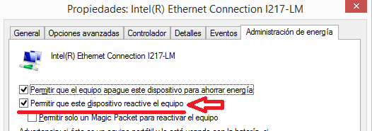 Windows: Wake on lan configurar
