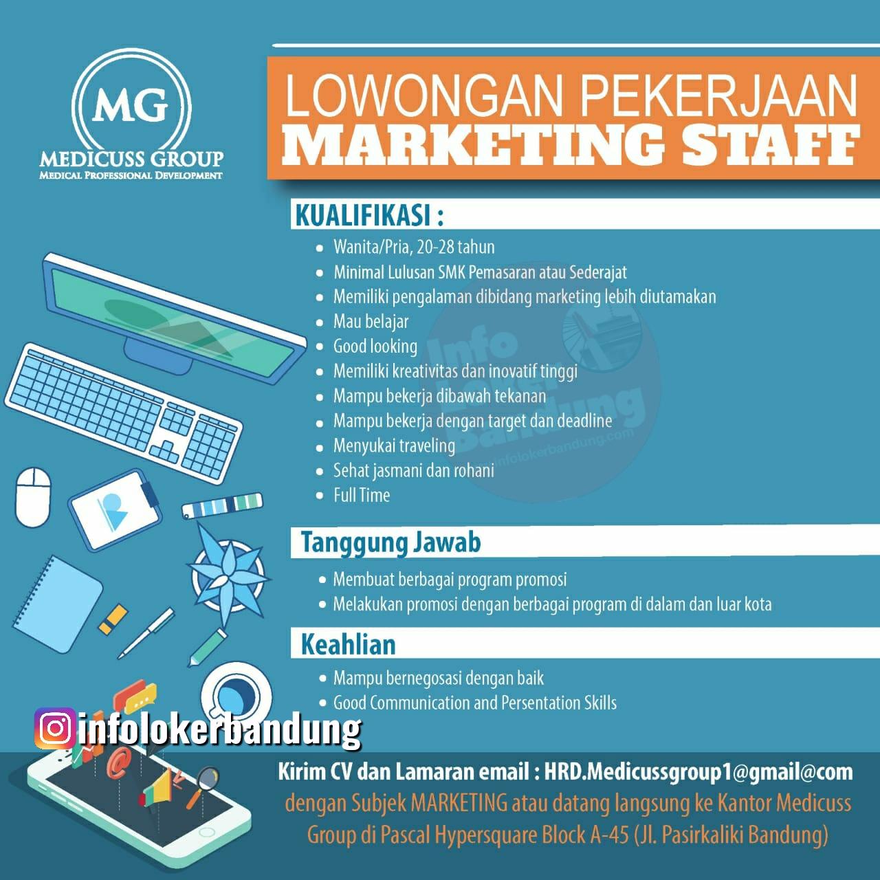 Lowongan Kerja Staff Marketing CV. Buana Mandiri (Medicuss Group) Bandung Mei 2020