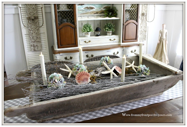French Country Farmhouse Dining Room- Center Piece-Vintage-Dough Bowl-From My Front Porch To Yours