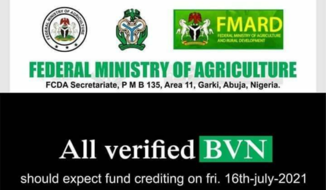 Today we will start sending all those who have verified their BVN, the money to be credited to their bank account, according to FMARD - Comr Abba Sani Pantami