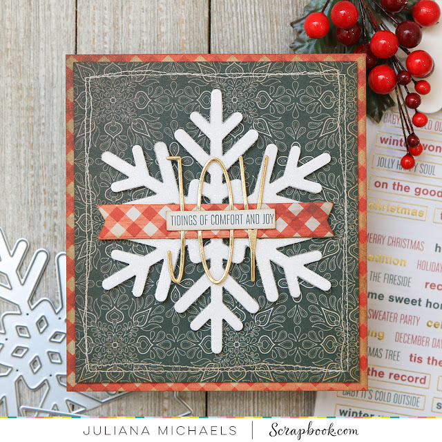Joy Snowflake Christmas Card by Juliana Michaels featuring Scrapbook.com Snowflake Winter Wishes and Tall Skinny Alphabet Dies
