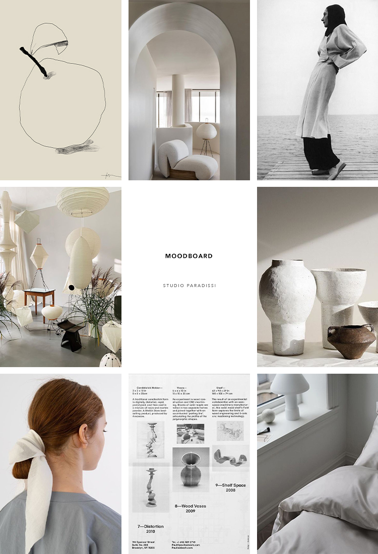 Inspiration moodboard curated by Eleni Psyllaki for Studio Paradissi