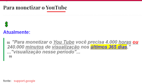 Para monetizar o YouTube