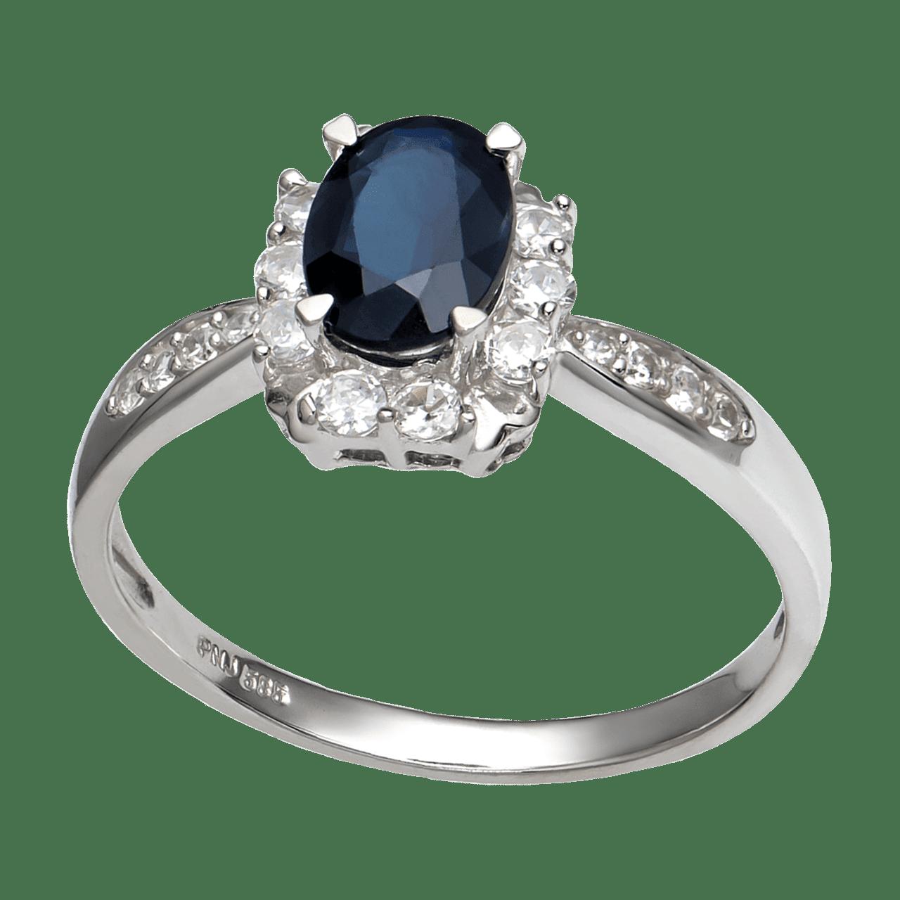 Nhẫn Vàng trắng 14K đính đá Sapphire PNJ SPXMW000030