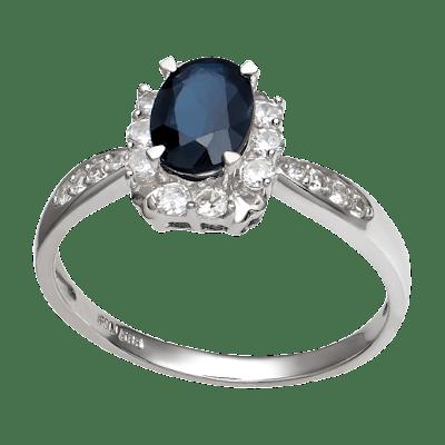 Nhẫn Vàng trắng 14K đính đá Sapphire PNJ