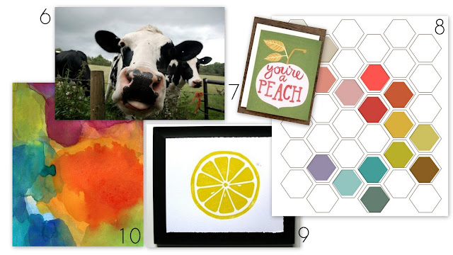 watercolor, beehive, cow, frame