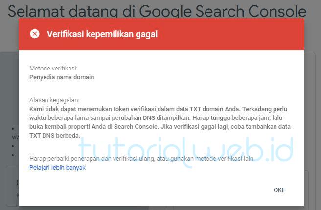 Cara Mendaftarkan Wordpress ke Google 3 Verifikasi Kepemilikan Gagal