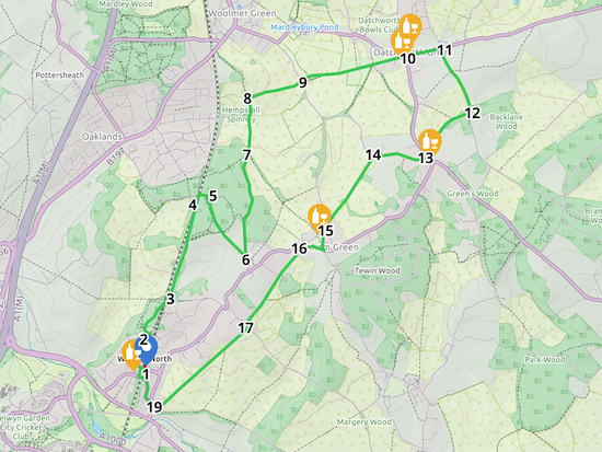Map for Walk 89: Welwyn North NE Loop  Created on Map Hub by Hertfordshire Walker  Elements © Thunderforest © OpenStreetMap contributors  Note: There is a larger, more detailed map embedded at the end of these directions