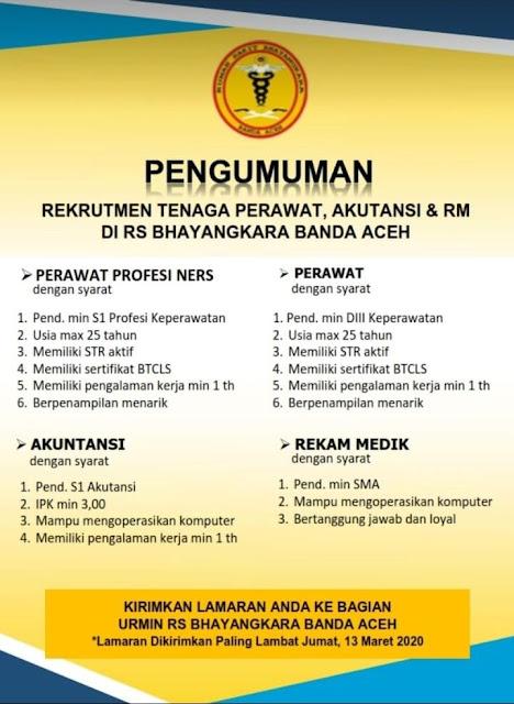 Rekrutmen Tenaga Perawat, Akutansi & Rekam Medis Di RS Bhayangkara Banda Aceh