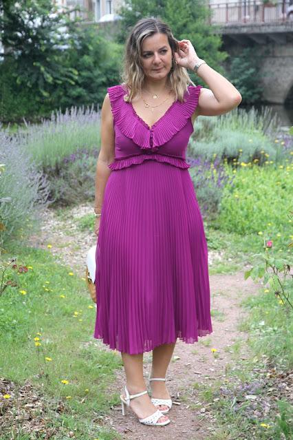 Robe violette sézane, robe plissée, look du jour, les petites bulles de ma vie