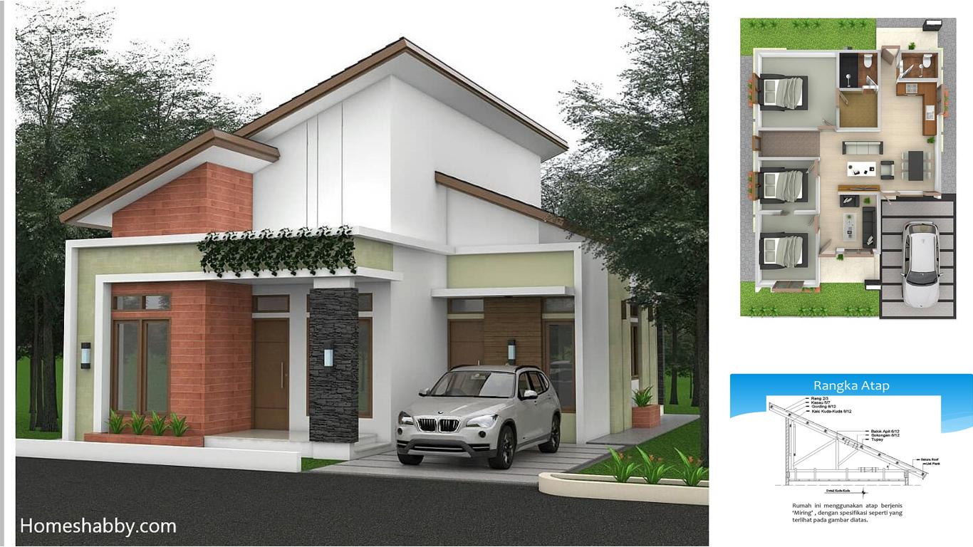 Desain Dan Denah Rumah Terbaru Dengan Konsep Atap Miring Satu Arah Ukuran Rumah 9 X 12 M Homeshabby Com Design Home Plans Home Decorating And Interior Design