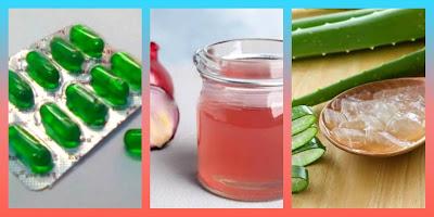 Vitamin E capsules & onion juice & aloe vera