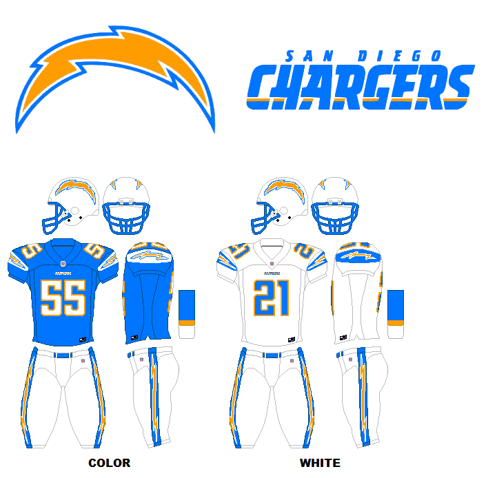 San Diego Chargers Costume: Sports Unis: NFL Uniforms