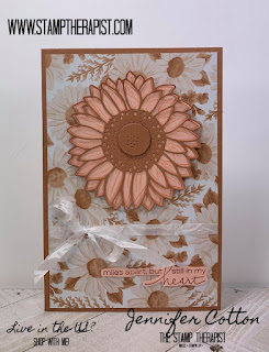 This card uses Stampin' Up!'s Flowers for Every Season Memories & More Card Pack and Cards & Envelopes along with the Celebrate Sunfloers Bundle & Lovely You Stamp Set.  Supplies & Video on the blog (click the pic to go there).  #StampTherapist #StampinUp