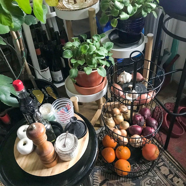 grönsaker, blommor, vardagsrum, livingroom