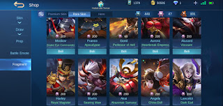 Cara dapat rare skin fragment gratis di mobile legend 2020