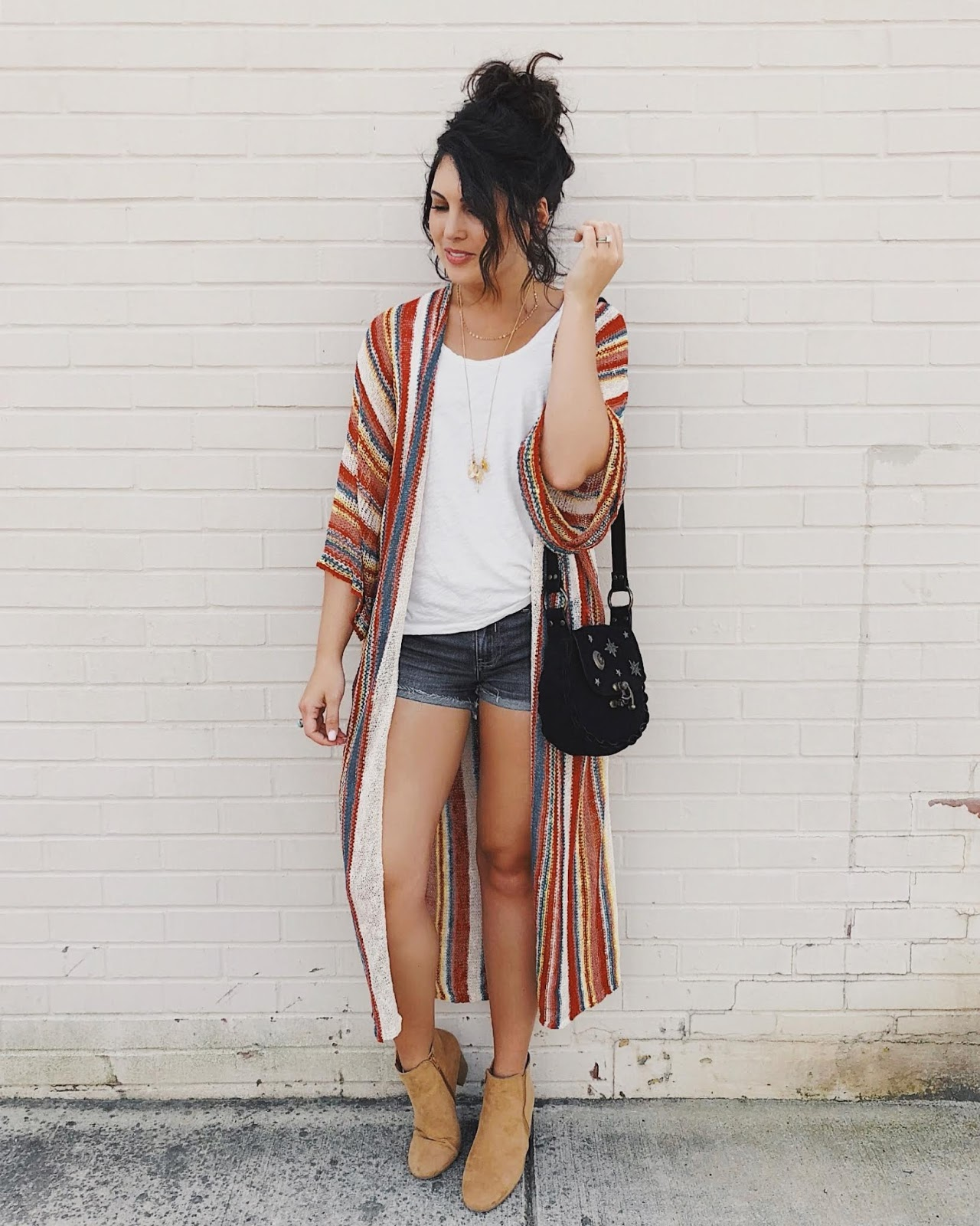 boho style, crochet sweater kimono, forever 21 striped knit sweater, xo samantha brooke, life and messy hair, samantha brooke, boho fashion, nc blogger, nc blog, nc lifestyle blogger