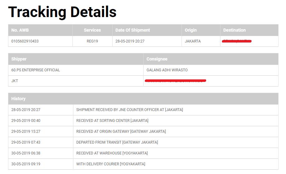 tracking detail jne