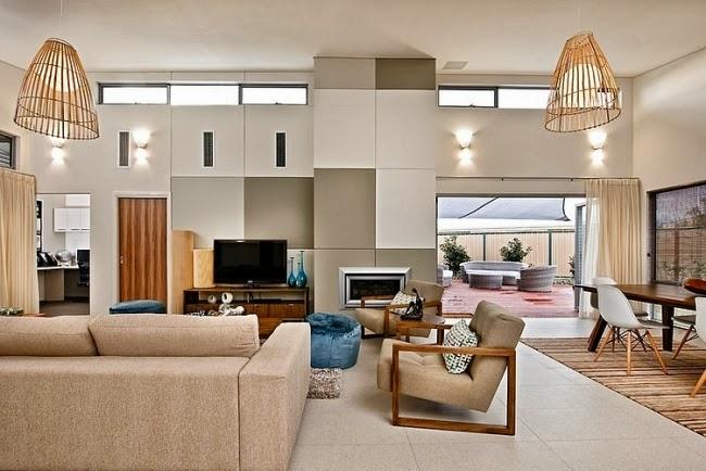 Salas modernas en colores tierra colores en casa - Color tierra pared ...