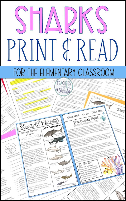 If it is shark week in your classroom this set is going to be perfect for you! This print and read set is fabulous for having students reading in a matter of minutes. These reading comprehension sheets with informational text are great in so many ways. The topic of this set is also amazing! It's all about sharks. #read #sharks #elementary