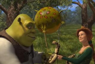 Szene Shrek mit Frosch als Ballon.