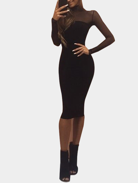 Black Long Sleeves Sexy See-through Bodycon Party Dress