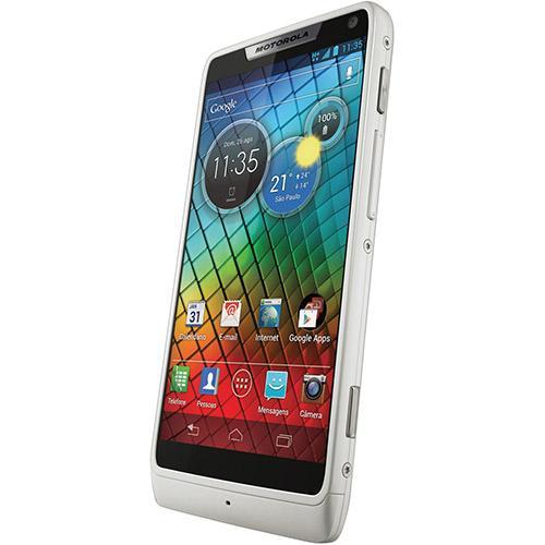 Smartphone Motorola RAZR i branco Android 4.0, Câmera de 8MP, 3G, Wi-Fi, Bluetooth, GPS, NFC, Memória Interna 8GB