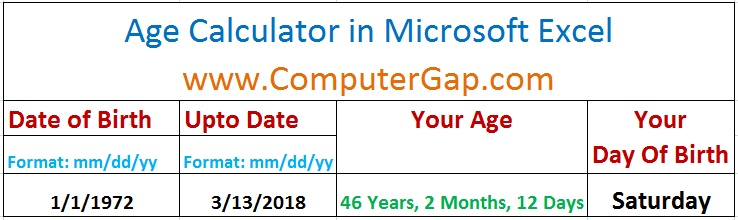Age Calculator Designed in Microsoft Excel Using DATEDIF Function