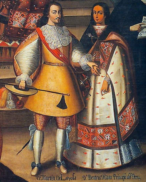 Casamento de Martín García de Loyola (descendente indireto de Santo Inácio) e Beatriz Clara Coya (da família real dos Incas). Igreja da Compania, Cuzco, século XVII.