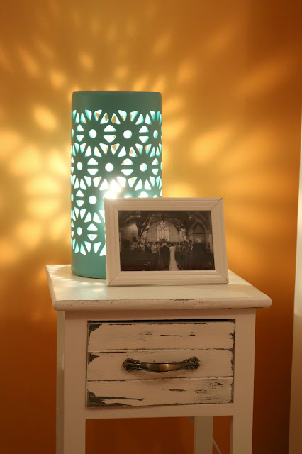 Ceramic Turquoise Lace Lamp - Bright and Beautiful Bedroom Makeover - Bedroom Makeover without Painting on a Budget - How to Create Your Own Unique Home Decorating Style