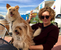 Portrait of Jean Donaldson with her dog and a friend's dog