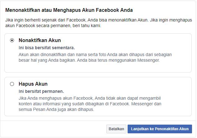 Cara Hapus Akun Facebook Sekali Klik