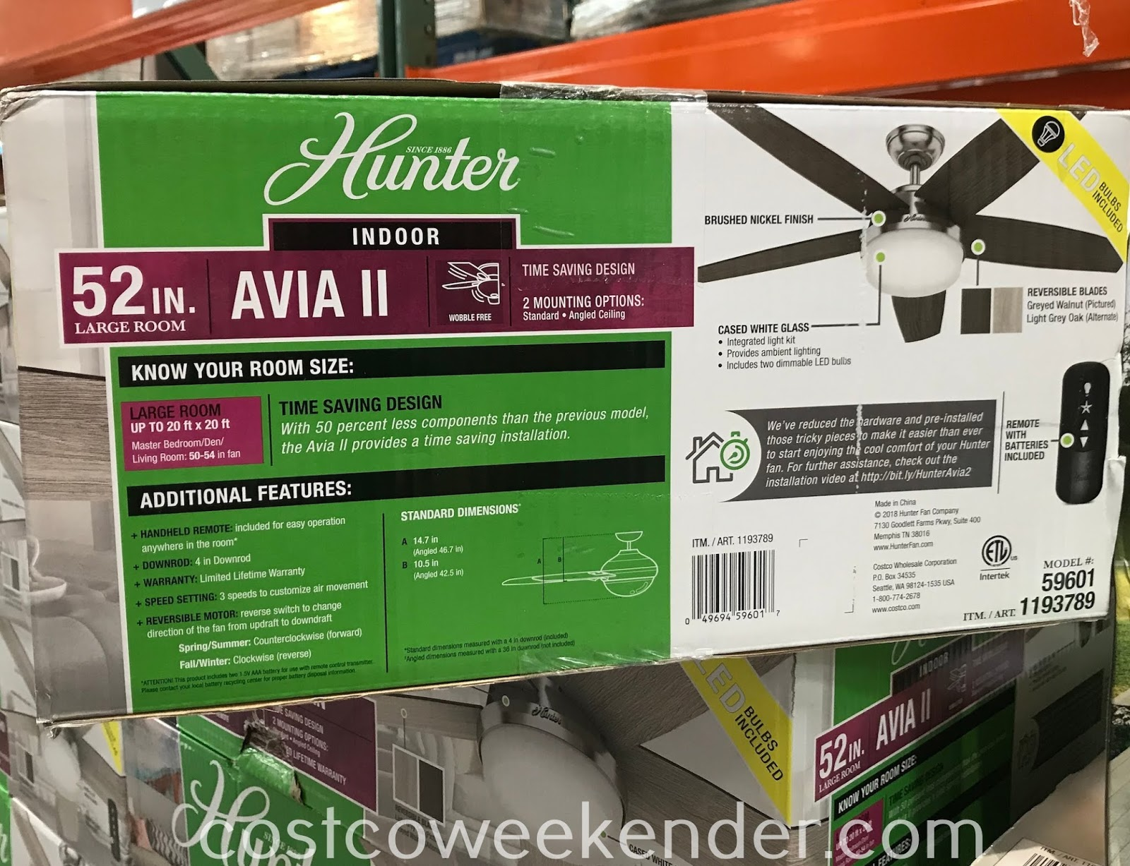 Costco 1193789 - Hunter Avia II Ceiling Fan: great for any home