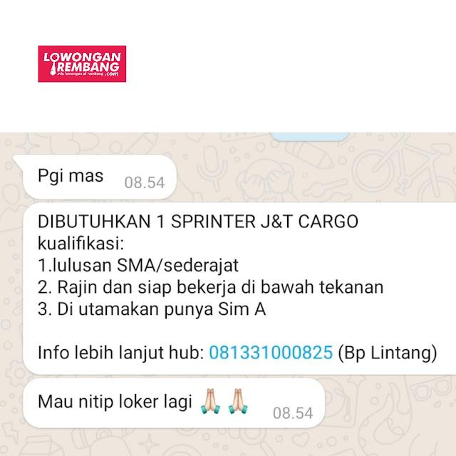 Lowongan Kerja Sprinter J&T Cargo Rembang