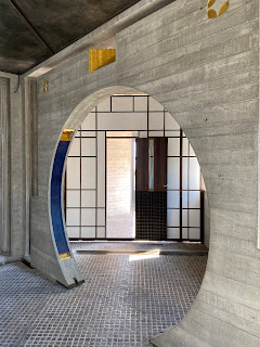 Brion Cemetery and tomb designed by Carlos Scarpa - chapel entrance.
