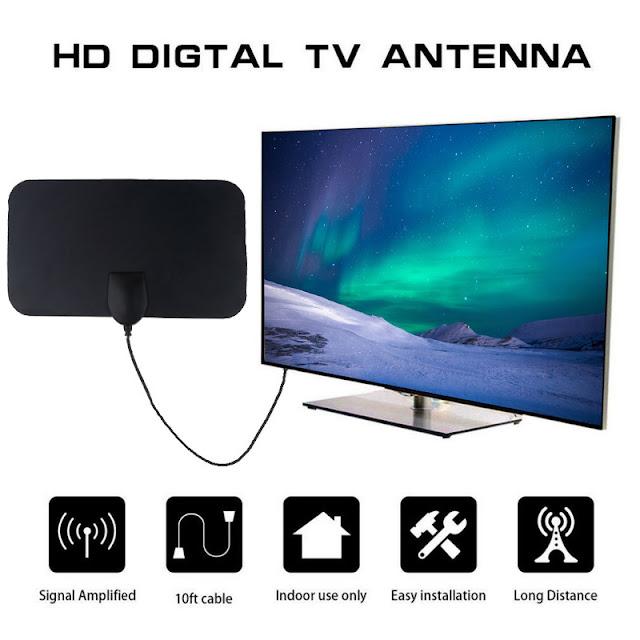 Digital TV Antenna 140 Miles Booster TV DTV Box 4K HD 25DB High Gain Active Indoor Aerial HD Flat Design Fox DVB T2 TV Antenna