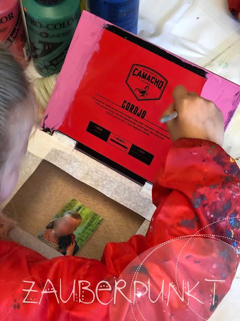 Kinder-Laptop-DIY, Malen mit dem Pinsel, Tutorial, Computer aus Zigarrenschachtel, upcycling, Kindergartencomputer, Medien/Informatik im Kindergarten, LP21, Werken mit Kindergartenkinder