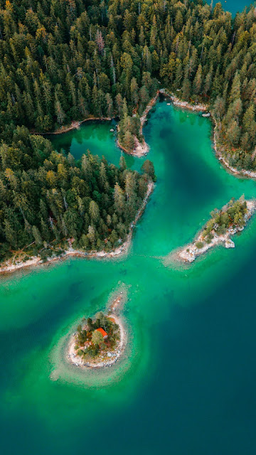 Stunning aerial view Drone, forest, island, sea