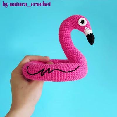 Вязаный круг фламинго крючком