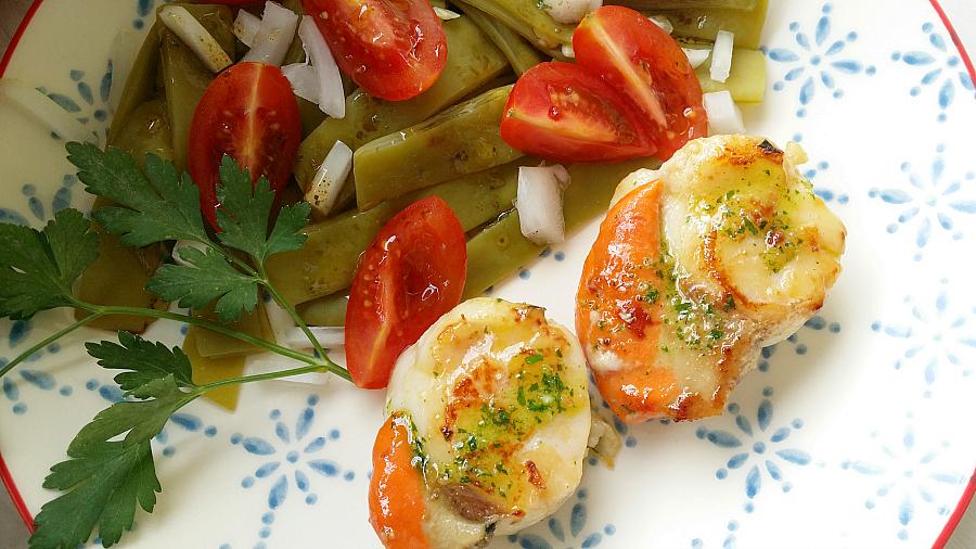 Ensalada templada de jud as verdes y vieiras a la plancha for Cocinar vieiras