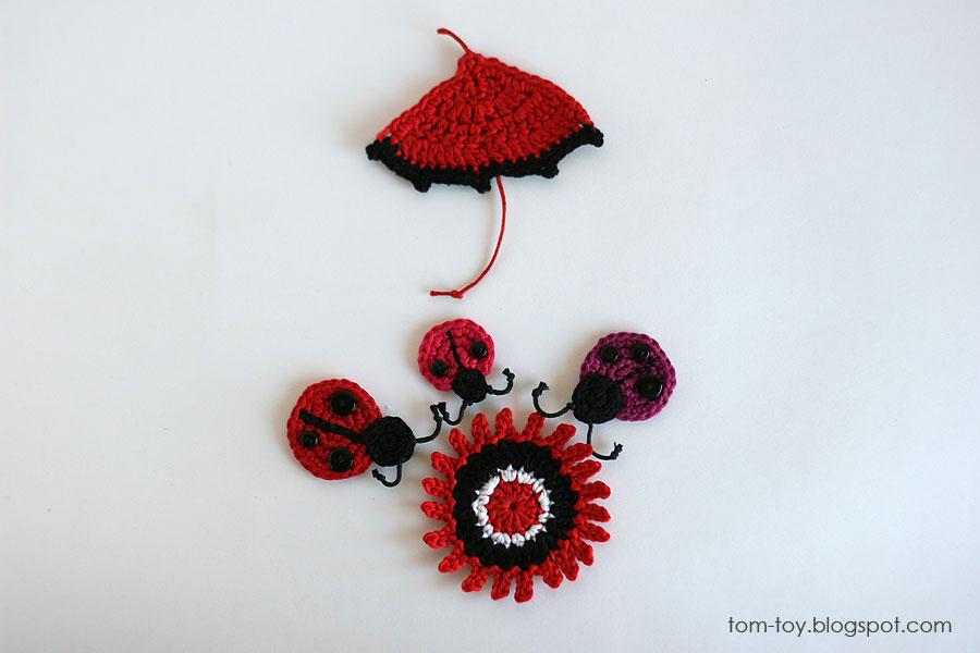 Handmade ladybugs appliques - crochet ladybugs, flowers, umbrella, mushroom, heart