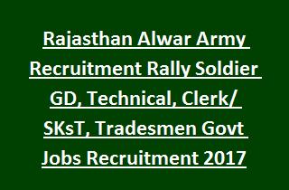Rajasthan Alwar Army Recruitment Rally Soldier GD, Technical, Clerk SKsT, Tradesmen Govt Jobs Recruitment 2017