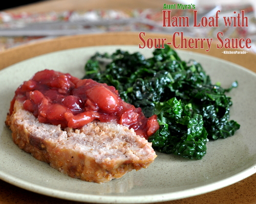 Ham Loaf with Sour-Cherry Sauce ♥ KitchenParade.com, an old family recipe for 'ham meatloaf' topped with a spicy sour-cherry sauce.