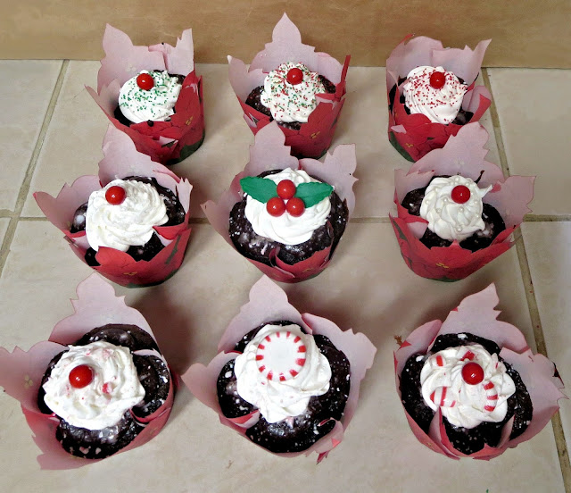 Christmas Chocolate & Peppermint Cupcakes - Poinsettia Wrappers & Various Decorations 2